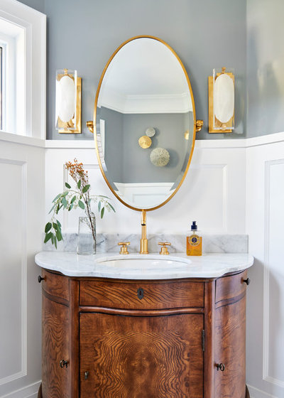 Transitional Powder Room by Diana Bastone Designs
