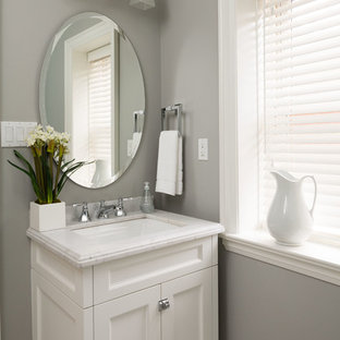 Example Of A Small Transitional Powder Room Design In Toronto With An Undermount Sink Recessed