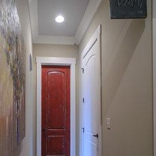 Rustic Powder Room by Blalock Homes LLC
