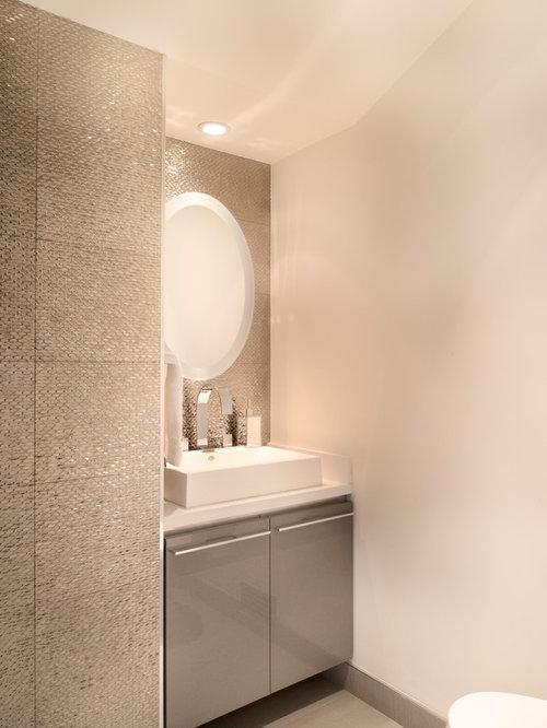 Contemporary Gray Tile And Mosaic Tile Powder Room Idea In Santa Barbara  With Flat Panel
