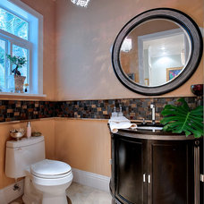 Transitional Powder Room by DELUXE Design & Construction