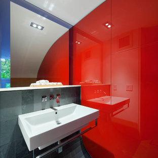 Exemple De Petits WC Et Toilettes Tendance Avec Un Lavabo Suspendu, Un Carrelage  Gris,
