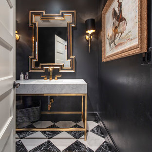 Example of a trendy multicolored floor powder room design in Seattle with open cabinets, black walls, a console sink and gray countertops
