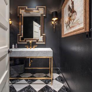 Moderne Gästetoilette mit offenen Schränken, schwarzer Wandfarbe, Waschtischkonsole, buntem Boden und grauer Waschtischplatte in Seattle
