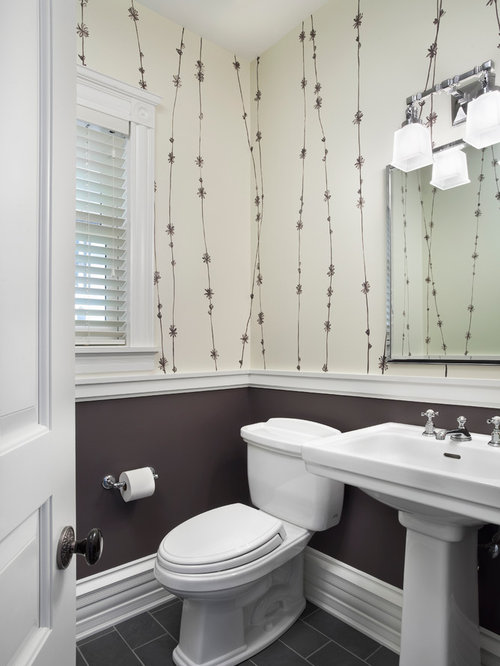 Bathroom Chair Rail Ideas Part - 42: Example Of A Transitional Powder Room Design In Chicago With A Pedestal Sink