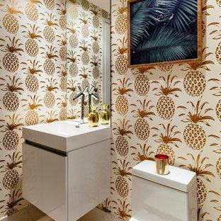 Идея дизайна: туалет в современном стиле с плоскими фасадами, серыми фасадами, белыми стенами, консольной раковиной и белым полом