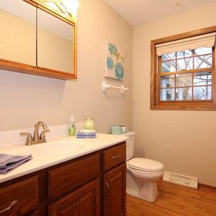 Идея дизайна: туалет среднего размера в классическом стиле с фасадами с выступающей филенкой, фасадами цвета дерева среднего тона, раздельным унитазом, белыми стенами, паркетным полом среднего тона, монолитной раковиной и столешницей из ламината