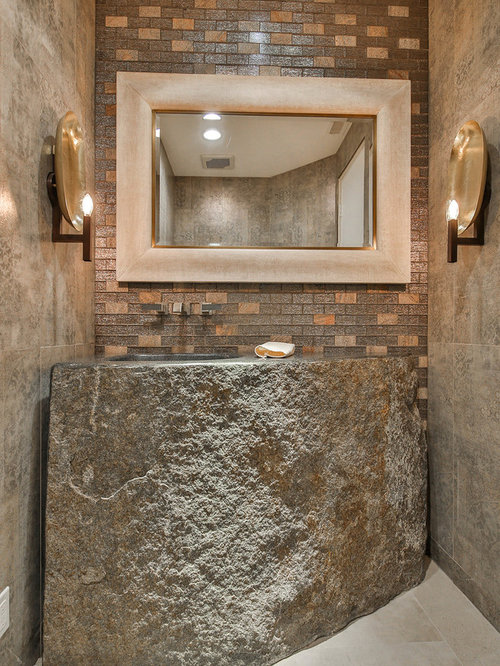 Powder Room   Mid Sized Rustic Beige Tile And Ceramic Tile Gray Floor And  Cement