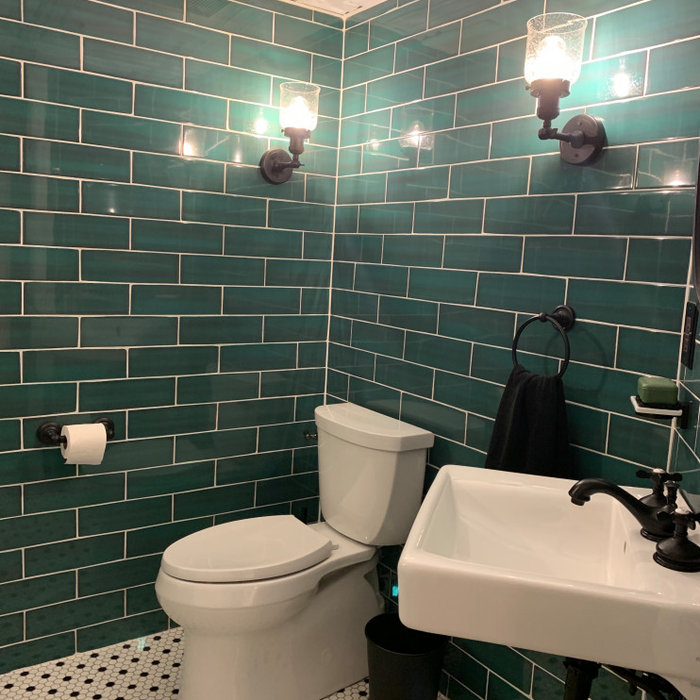 Industrial Basement Powder Room