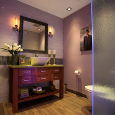 Transitional Powder Room by Station Earth