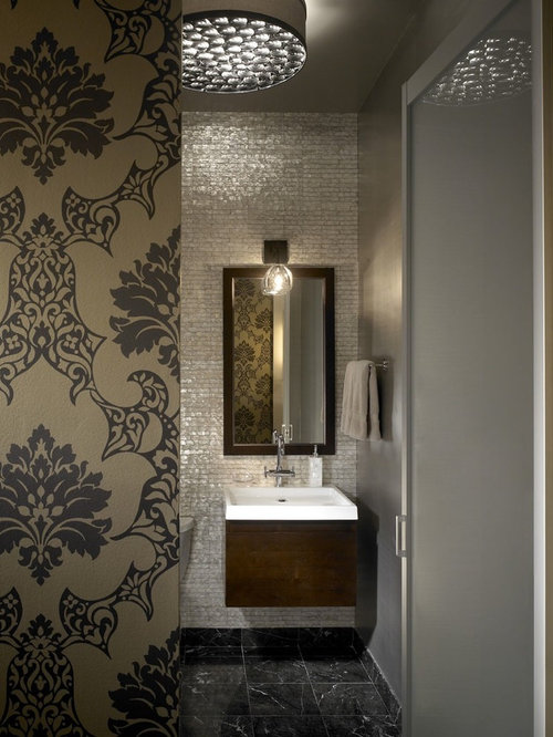 Industrial Gray Tile Bathroom Idea In Chicago With A Wall Mount Sink And  Dark Wood Part 25