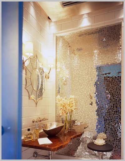 Contemporary Powder Room by Jamie Herzlinger