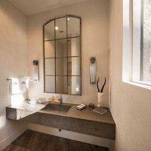 Diseño de aseo clásico renovado con paredes beige, suelo de madera oscura, lavabo de seno grande y encimeras grises