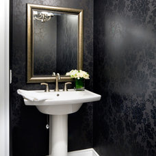 Transitional Powder Room by Jane Lockhart Interior Design