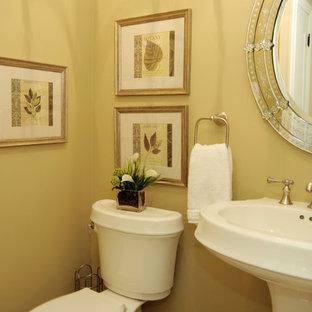 Идея дизайна: туалет среднего размера в классическом стиле с раковиной с пьедесталом, раздельным унитазом и желтыми стенами
