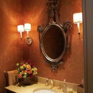 Стильный дизайн: маленький туалет в викторианском стиле с красными стенами, врезной раковиной, столешницей из талькохлорита, фасадами в стиле шейкер и темными деревянными фасадами - последний тренд