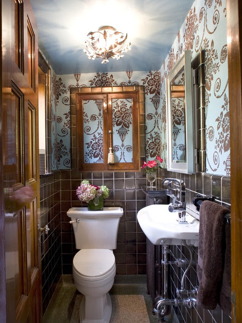 Small toilet fixtures houzz for Small victorian bathroom design