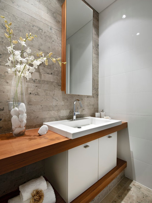 Design Ideas For A Small Contemporary Powder Room In Perth With A Drop In  Sink Part 65