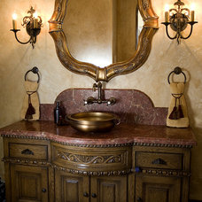 Mediterranean Powder Room by James Glover Residential & Interior Design