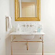 Traditional Powder Room by Kara Weik