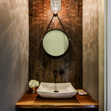 Transitional Powder Room by Marcel Page Photography