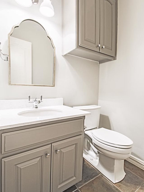 Powder Room Design Ideas, Remodels & Photos with Gray Cabinets and Slate Floors