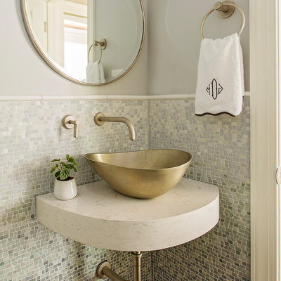 Inspiration for a small transitional multicolored tile and mosaic tile dark wood floor and brown floor powder room remodel in Charleston with gray walls, a vessel sink, quartz countertops and white countertops