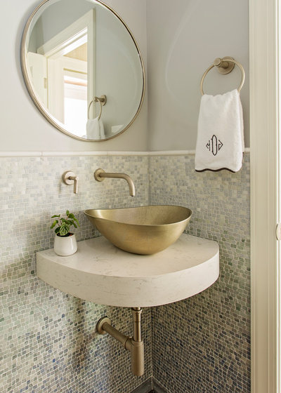Transitional Powder Room by Classic Remodeling & Construction, Inc.
