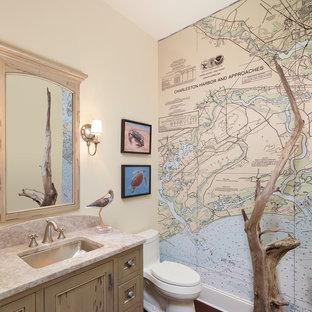 На фото: туалет среднего размера в морском стиле с унитазом-моноблоком, столешницей из гранита, фасадами с декоративным кантом, светлыми деревянными фасадами, разноцветными стенами, врезной раковиной и коричневым полом с