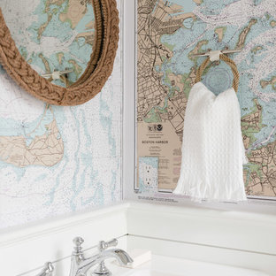Powder room - large coastal powder room idea in Boston with a pedestal sink