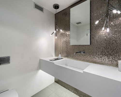 Metallic tile home design ideas pictures remodel and decor - Carrelage toilette ...