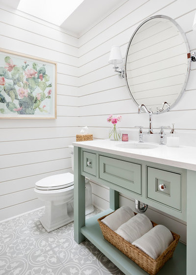 Farmhouse Powder Room by Kimberlee Marie Interiors