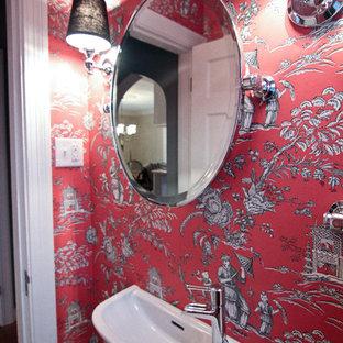 Идея дизайна: маленький туалет в стиле фьюжн с подвесной раковиной, открытыми фасадами и красными стенами