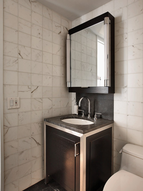 photos et id es d co de wc et toilettes modernes avec un carrelage de pierre. Black Bedroom Furniture Sets. Home Design Ideas