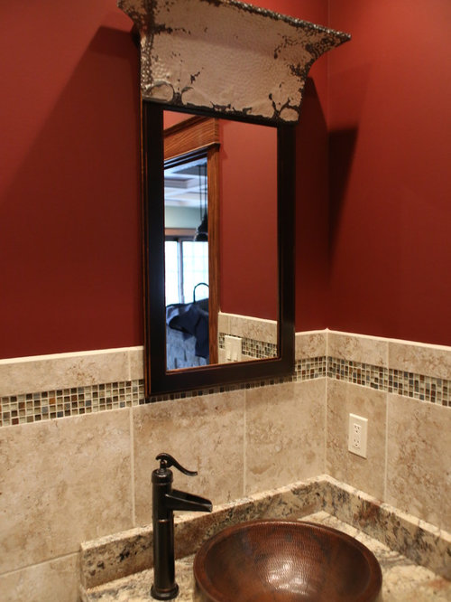 Cloakroom design ideas renovations photos with dark wood cabinets and red walls - Cloakroom design ideas home ...