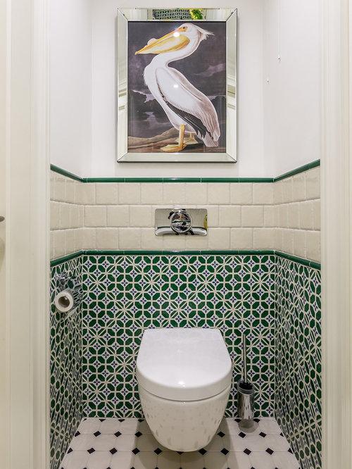 Photos et id es d co de wc et toilettes avec un carrelage vert for Carrelage pour wc suspendu