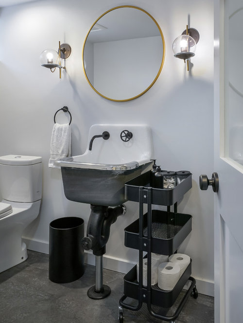 Example Of An Urban Concrete Floor And Gray Floor Powder Room Design In  Portland With A