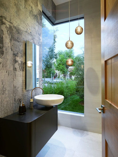 2 586 Powder Room With Gray Walls Design Ideas Amp Remodel