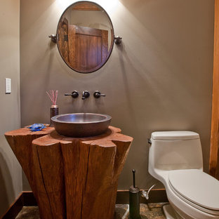 Inspiration for a contemporary powder room remodel in Calgary
