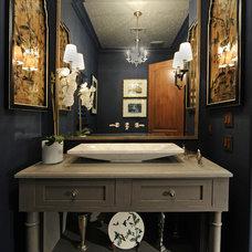 Mediterranean Powder Room by Debra Villeneuve Interiors