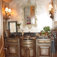 Mediterranean Powder Room by Eagle Designs and Woodworking, Inc.