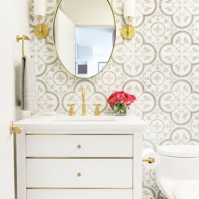 Example of a small transitional white tile and cement tile porcelain tile and white floor powder room design in Chicago with flat-panel cabinets, white cabinets, a one-piece toilet, white walls, an undermount sink, quartz countertops and white countertops