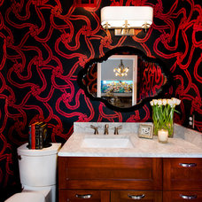 Eclectic Powder Room by Allison Jaffe Interior Design LLC
