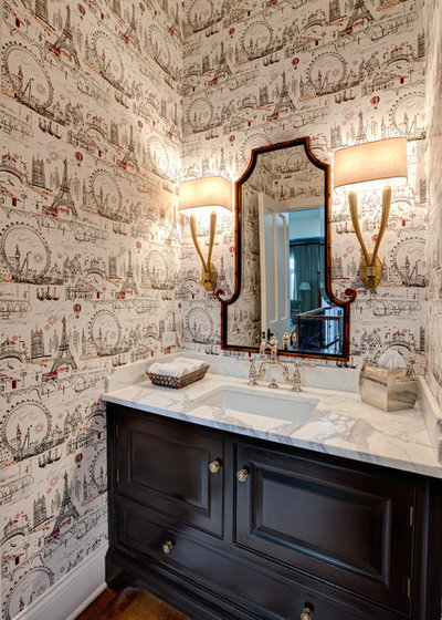 Traditional Powder Room by Melissa Lewis Interiors