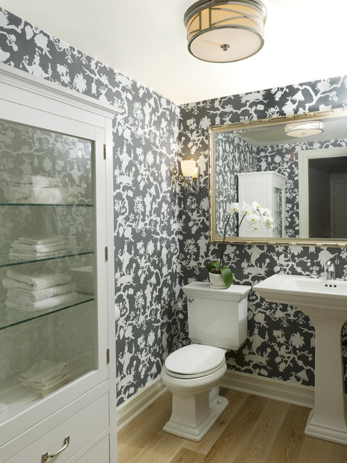 Inspiration For A Mid Sized Timeless Light Wood Floor Powder Room Remodel In Vancouver With