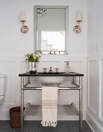 Transitional Powder Room by Victoria Kirk Interiors