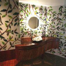 Contemporary Powder Room by Designer Glass Mosaics