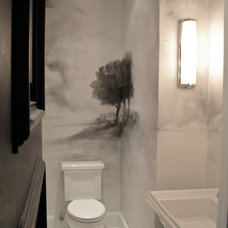 Traditional Powder Room by Marie-Pierre Ayoul Decorative painting