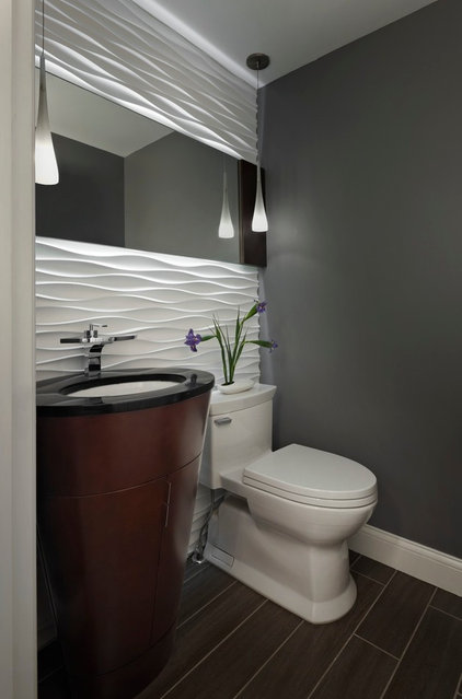 Contemporary Powder Room by Xstyles Bath  More