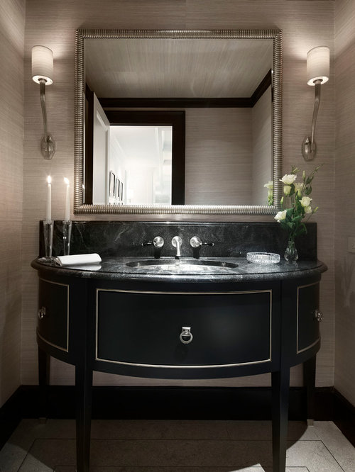 Example Of A Classic Powder Room Design In Chicago With An Undermount Sink,  Furniture